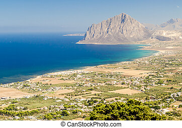 Panoramic View over Sicilian Coastline