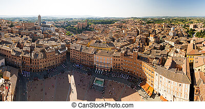 Panoramic view over Siena and the Piazza del Campo, Italy, from the Torre del Mangia.