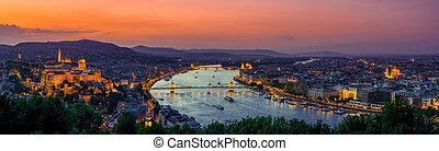 Panoramic view over the budapest at sunset