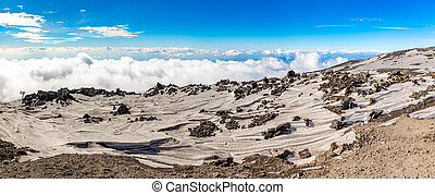 Panoramic view over the clouds from Etna to Catania, Sicily, Italy
