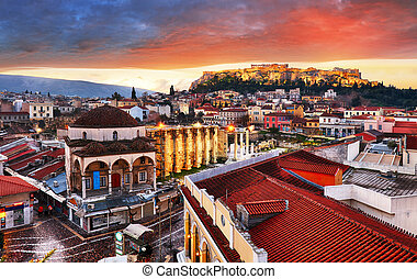 Panoramic view over the old town of Athens and the Parthenon...