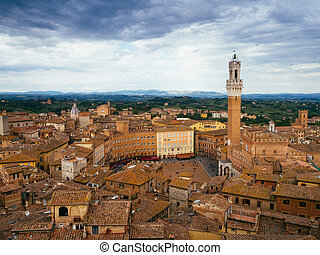 Panoramic view Piazza del Campo square in Siena, Italy
