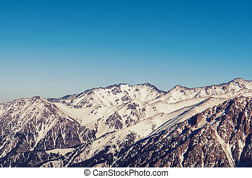 Panoramic view of Tian Shan mountains, Kazakhstan