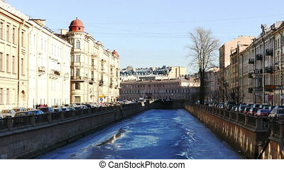 Panoramic View to Griboedov Channel Embankment in St. Petersburg, Russia