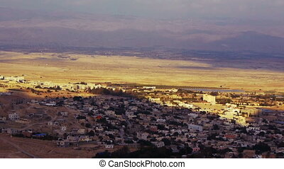 Panoramic view to Jericho from Mount of Temptation, Israel