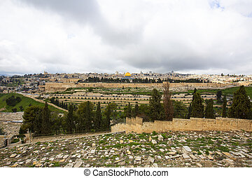 Panoramic view to Jerusalem old city from the Mount of Olives, Israel.