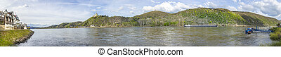 panoramic view to Main River and Marksburg in the Rhine valley at Braubach, Germany