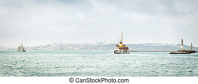 Panoramic view to the Bosphorus in Istanbul, Turkey