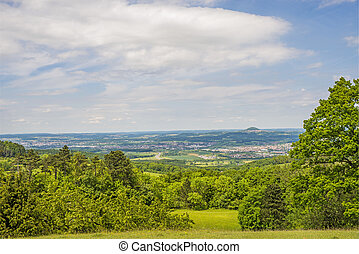 Panoramic view to the German emperor hill Hohenstaufen