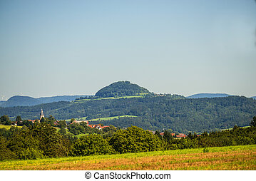 panoramic view to the hill Hohenstaufen in Germany
