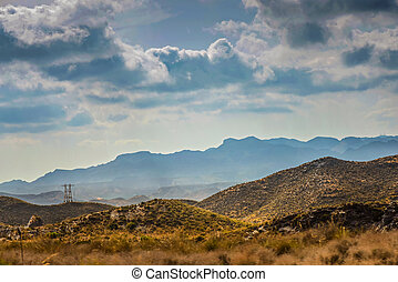 Panoramic view to the mountains in motion