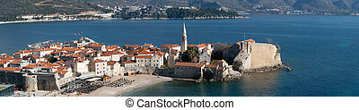 panoramic view to the Old Town of Budva