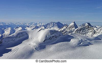 Panoramic view to the peaks in the Jungfrau region Switzerland