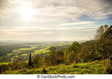 Panoramic view to the south of Germany direction Stuttgart