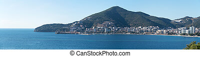panoramic view to the town of Budva