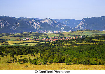 Panoramic view to the town of Vratsa, Bulgaria