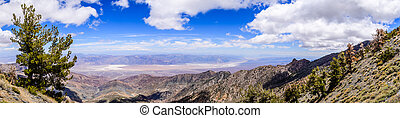 Panoramic view towards Badwater Basin from the trail to Telescope Peak, Death Valley National Park, California