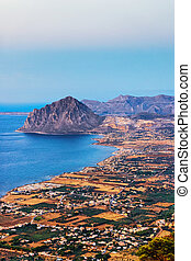 Panoramic view towards Monte Cofano in Erice Sicily Italy
