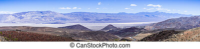 Panoramic view towards Panamint valley and mountain range, Death Valley National Park, California