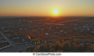 Panoramic view Uzhhorod Ukraine Europe on a small city at sunrise above in the autumn