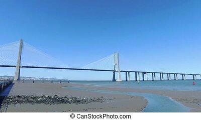 Panoramic View Vasco da Gama Bridge in Lisbon, Portugal