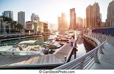 Dubai Marina - Panoramic view with modern skyscrapers and...