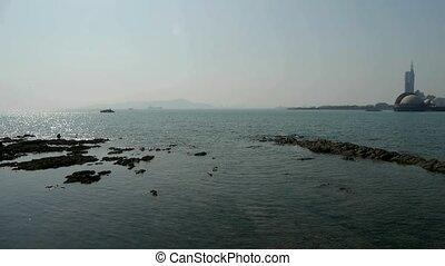 Panoramic views of Qingdao Seaside.