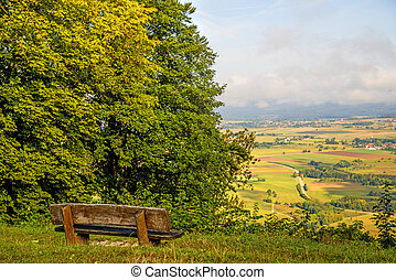 Panoramic views of the hill Hohenstaufen to the east of Germany