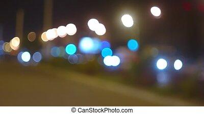 Panoramic vodeo of night street traffic blurred