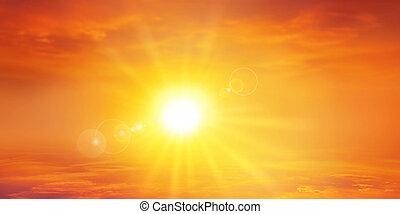 Panoramic warm sunset