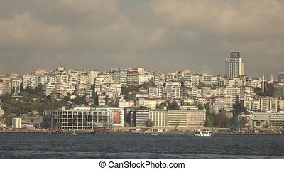 Panoramic wide view from sea of modern part of Istanbul, Turkey in a summer sunny day. Slow motion, Full HD video, 240fps, 1080p.