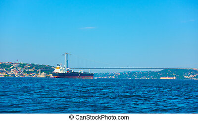 The Bosporus Strait in Istanbul and cargo ship