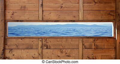 Panoramic wooden window seascape ocean