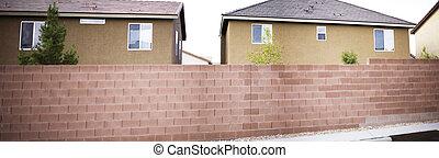 panoramico, case, e, muro di mattoni