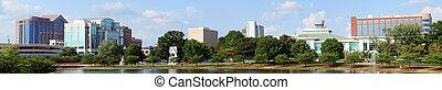 panoramico, cityscape, di, centro, huntsville, alabama, da, grande, primavera, parco