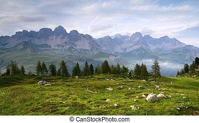 panoramico, dolomiti, italia, vista