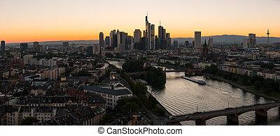 panoramico, germania, principale, francoforte, tramonto, vista