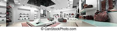 panoramico, interno, di, uno, negozio