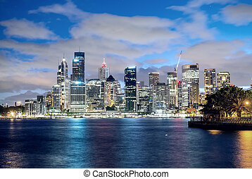 panoramico, orizzonte, sydney, notte