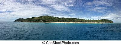 panoramico, paesaggio, e, marina, vista, di, waya, isola, figi
