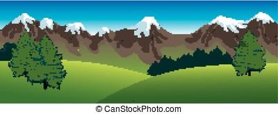 panoramico, paesaggio, montagne