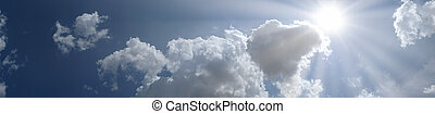 panoramiczny, błękitne niebo, z, chmury, i, słońce, miejsce, dla, twój, tekst