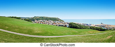 panoramiczny, na, prospekt, uk, hastings