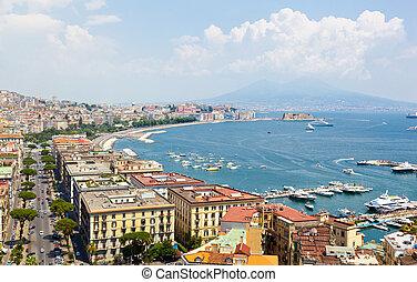 panoramiczny prospekt, od, neapol, z, posillipo