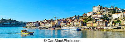 panoramiczny prospekt, od, porto, portugalia