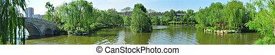 panoramiczny, rzeka, prospekt