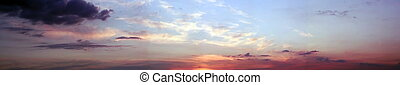 panoramiczny, zachód słońca, barwny