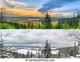 panoramique, 2, -, paysages, saisons