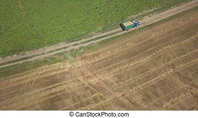 panoramique, agricole, bourdon, camion, en mouvement,...