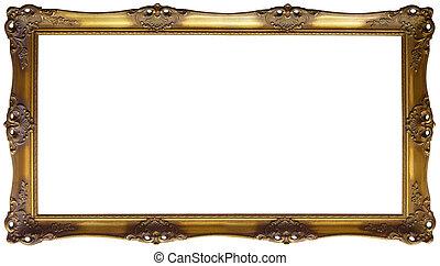 panoramique, cadre, coupure, doré